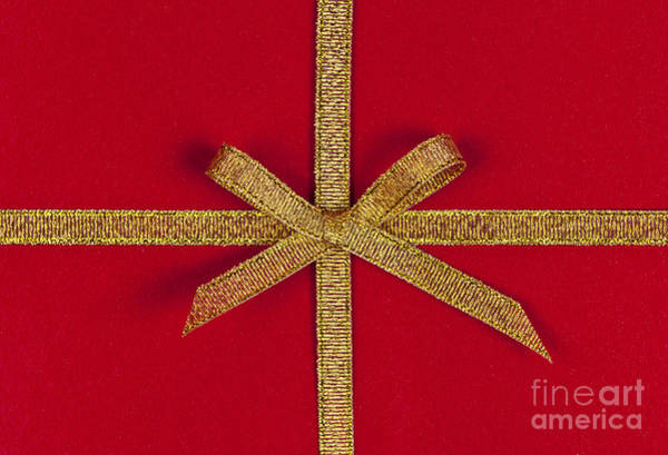 Gift Wrap Photograph - Red Gift With Gold Ribbon by Elena Elisseeva