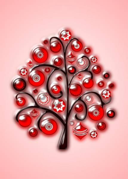 Digital Art - Red Glass Ornaments by Anastasiya Malakhova