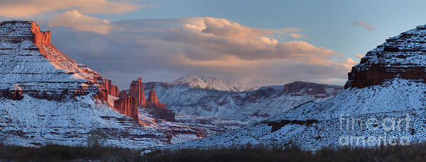 Fisher Towers Photograph - Red Glow In A Sea Of White - Panorama by Adam Jewell