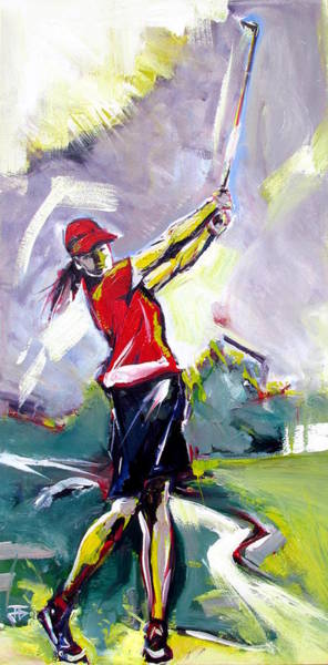 Painting - Red Golf Girl by John Jr Gholson