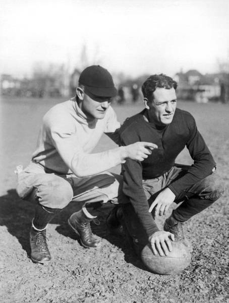 Football Photograph - Red Grange And His Coach by Underwood Archives