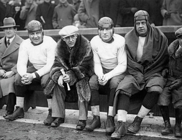 Photograph - Red Grange On Bears Bench by Underwood Archives