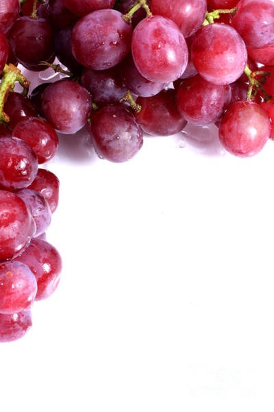 Wall Art - Photograph - Red Grapes With White Copy Space by Simon Bratt Photography LRPS