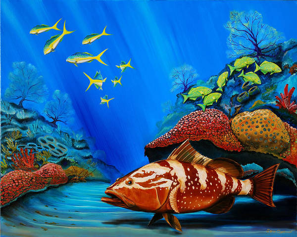 Painting - Red Grouper by Steve Ozment