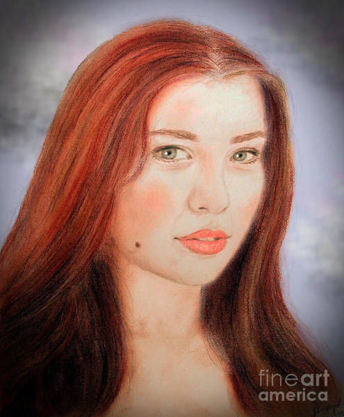 Freckle Drawing - Red Hair And Blue Eyed Beauty With A Beauty Mark II by Jim Fitzpatrick