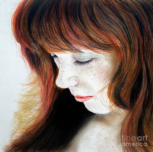 Freckle Drawing - Red Hair And Freckled Beauty II by Jim Fitzpatrick