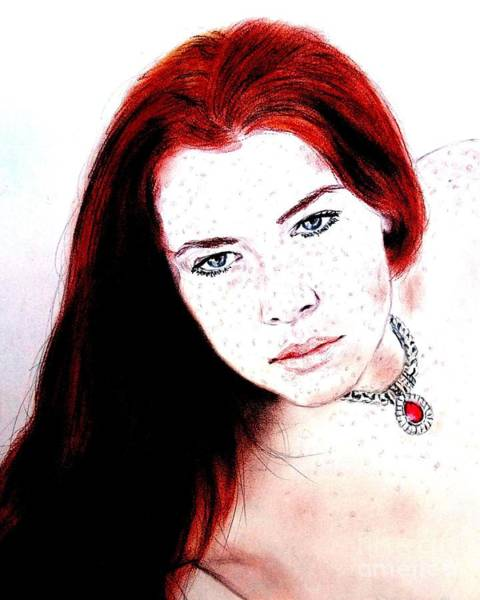 Leading Actress Digital Art - Red Hair And Freckled Beauty Remake II by Jim Fitzpatrick