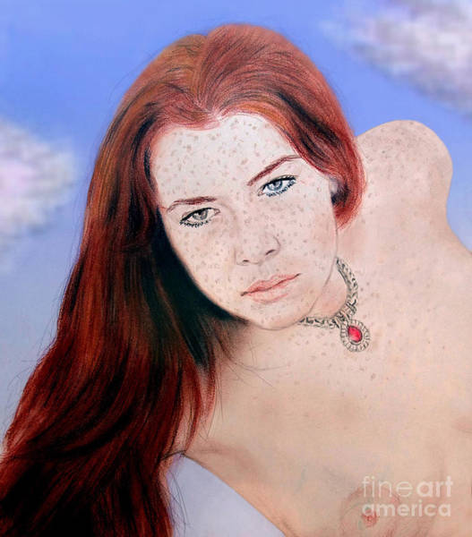 Leading Actress Wall Art - Drawing - Red Hair And Freckled Beauty Remake Nude Version II by Jim Fitzpatrick