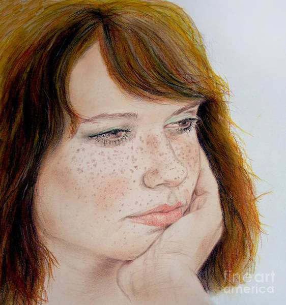 Freckle Drawing - Red Hair And Freckled IIi by Jim Fitzpatrick