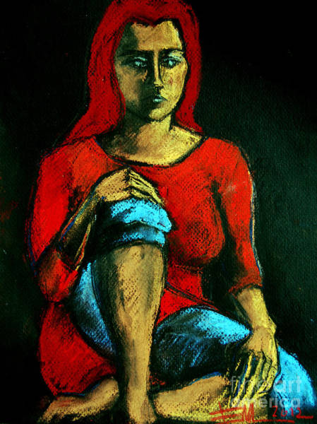 Sad Painting - Red Hair Woman by Mona Edulesco