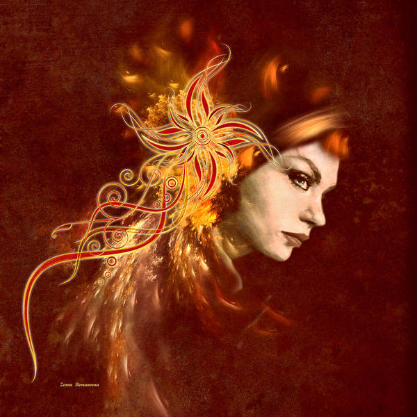 Digital Art - Red Headed Woman Abstract Realism by Isabella Howard