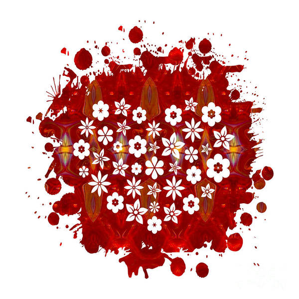 Digital Art - Red Heart Of Flowers Fantasy Designs Abstract Holiday Art By Oma by Omaste Witkowski