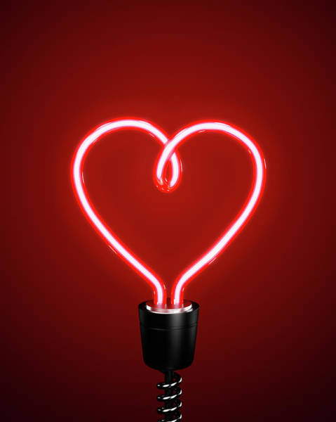 Red Heart Shaped Energy Saving Lightbulb Art Print by Atomic Imagery