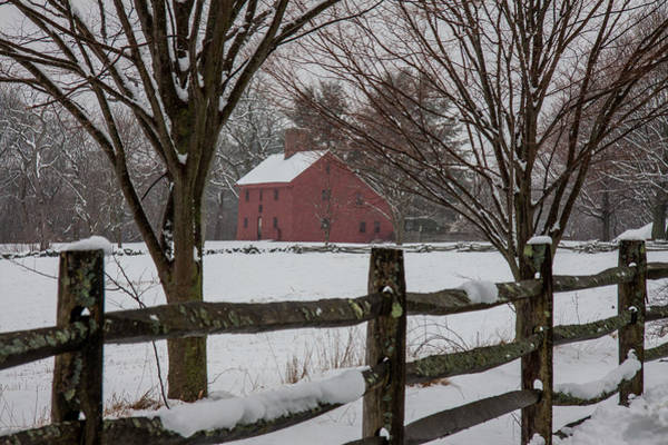 Photograph - Red Home In Snowstorm by Jeff Folger