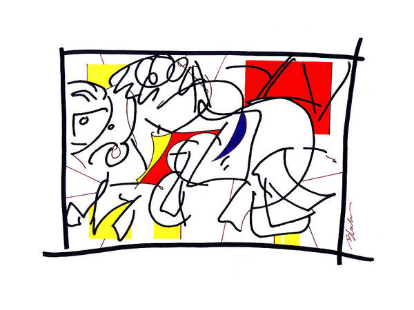 Primary Colors Drawing - Red Horseman by Nicholas Blake Seals