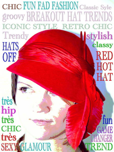 Millinery Photograph - Red Hot Hat Faux Fashion Poster by Andrea Lazar