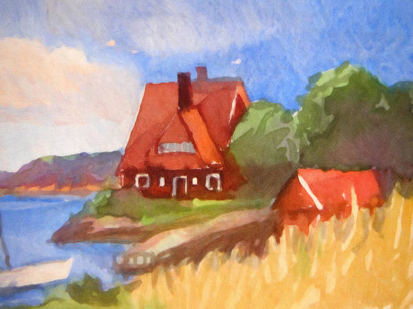 Wall Art - Painting - Red House By The Sea by Lutz Baar