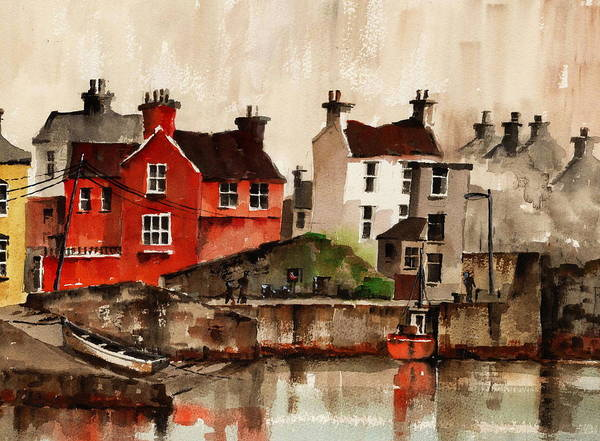 Painting - Red House Glandore Cork by Val Byrne