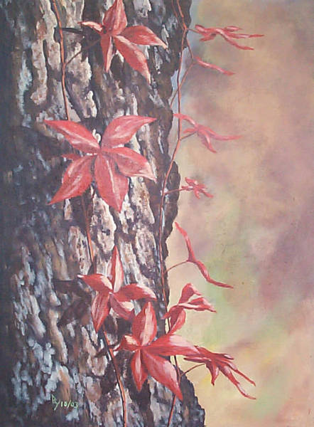 Painting - Red Ivy by Ray Nutaitis
