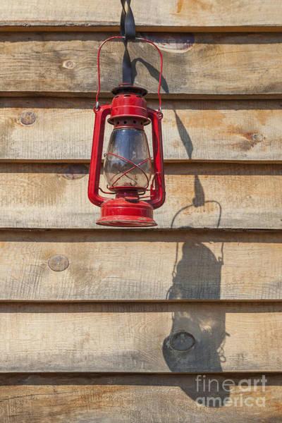 Photograph - Red Kerosene Lantern by Bryan Mullennix