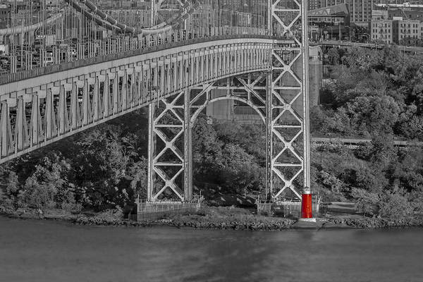 Photograph - Red Lighthouse And Great Gray Bridge Bw by Susan Candelario