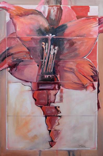 Wall Art - Painting - Red Lily by Donna Tuten