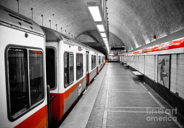 Selective Color Photograph - Red Line by Charles Dobbs