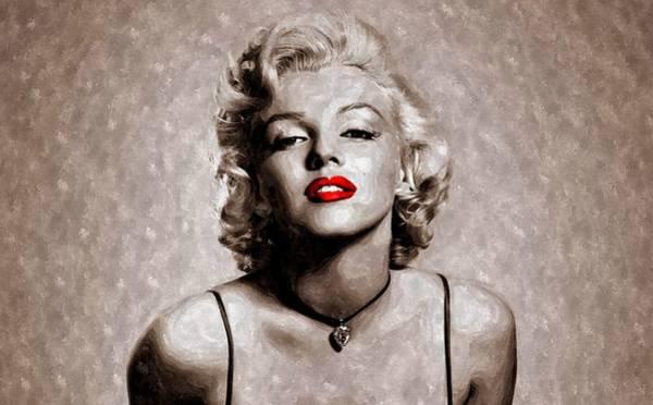 Wall Art - Painting - Red Lips Marilyn by Florian Rodarte