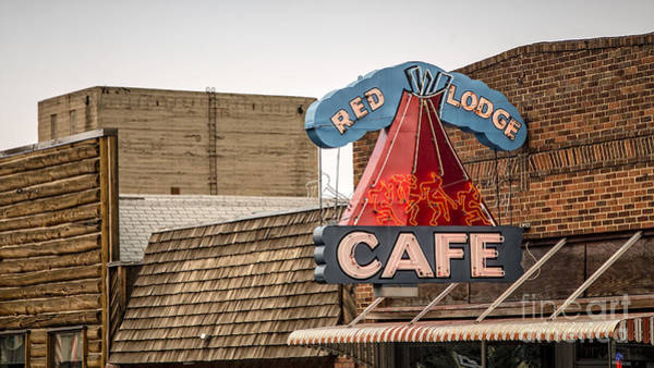 Vintage Neon Sign Photograph - Red Lodge Cafe Old Neon Sign by Edward Fielding