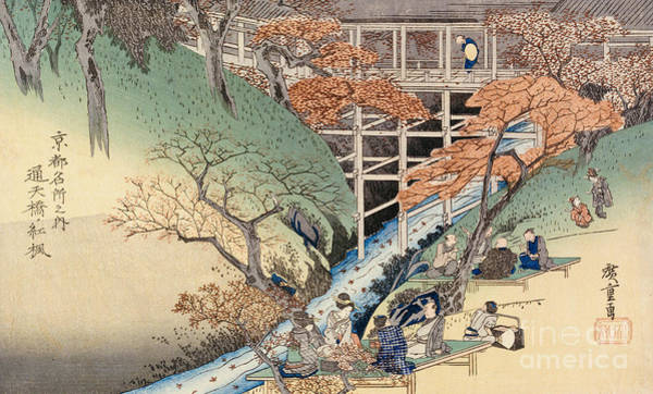Riverbank Painting - Red Maple Leaves At Tsuten Bridge by Ando Hiroshige