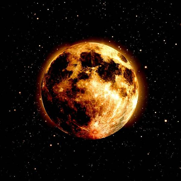 Wall Art - Digital Art - Red Moon by James Barnes