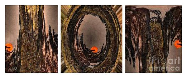 Little Planet Digital Art - Red Moon Rising - Abstract - Triptych by Barbara Griffin
