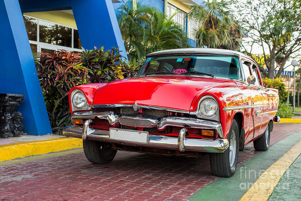 Photograph - Red Old Classic Car by Les Palenik