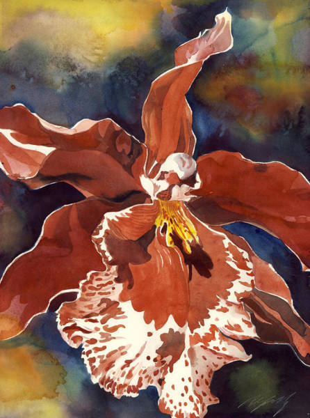 Painting - Red Oncidium Orchid by Alfred Ng