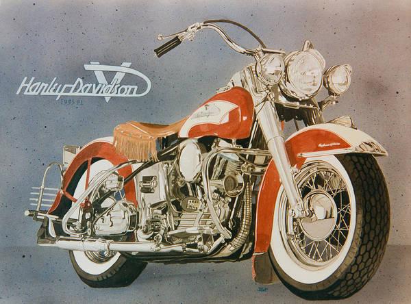 Pan Head Painting - Harley Davidson Red Pan Head  by Mark Zelenkovich