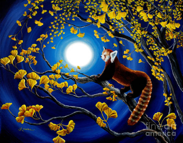 Red Moon Painting - Red Panda In Golden Gingko Tree by Laura Iverson