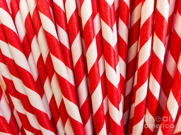 Soda Straws Photograph - Red Paper Straws by Edward Fielding