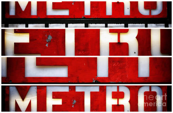 Photograph - Red Paris Metro Sign Panels by John Rizzuto