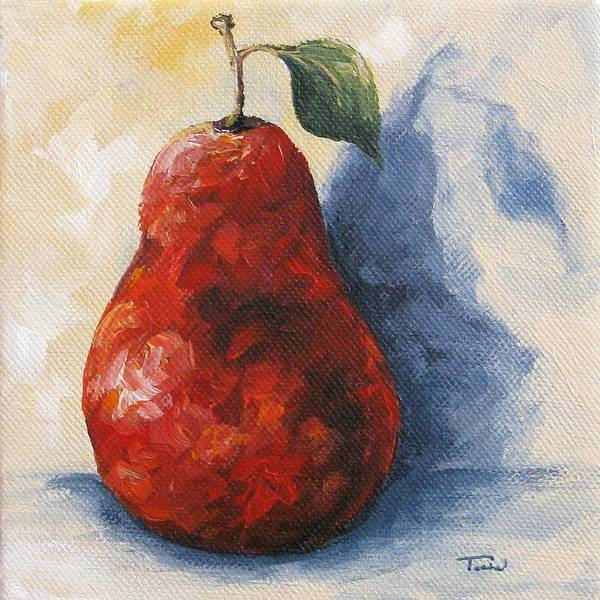 Wall Art - Painting - Red Pear With Shadow by Torrie Smiley