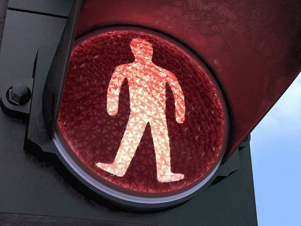 Stop Light Photograph - Red Pedestrian Light by Ktsdesign/science Photo Library