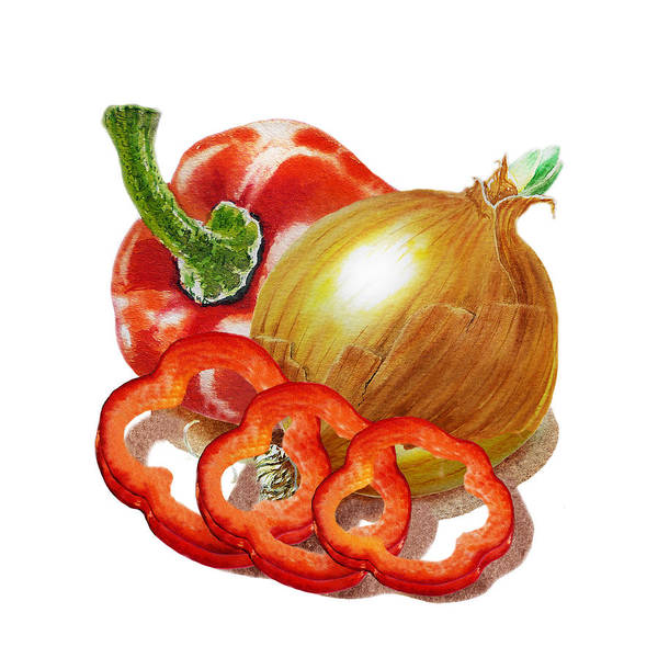 Wall Art - Painting - Red Pepper And Onion by Irina Sztukowski