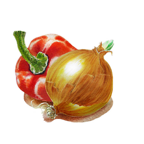 Wall Art - Painting - Red Pepper And Yellow Onion by Irina Sztukowski