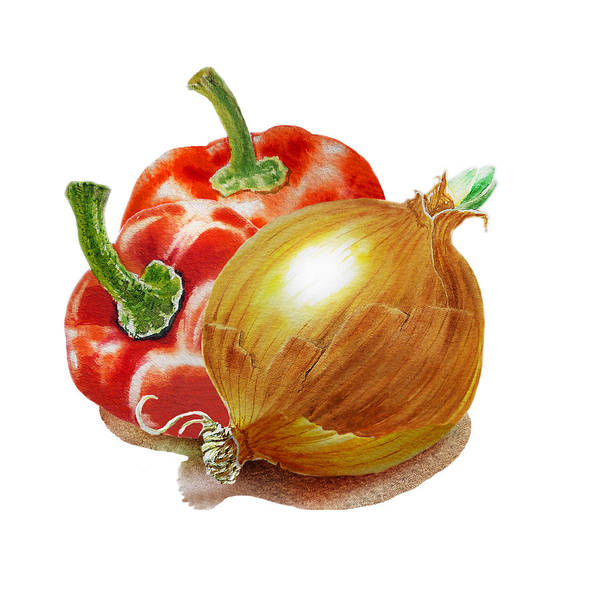 Wall Art - Painting - Red Peppers And Onion by Irina Sztukowski