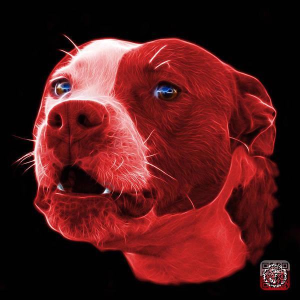 Mixed Media - Red Pitbull Dog 7769 - Bb - Fractal Dog Art by James Ahn
