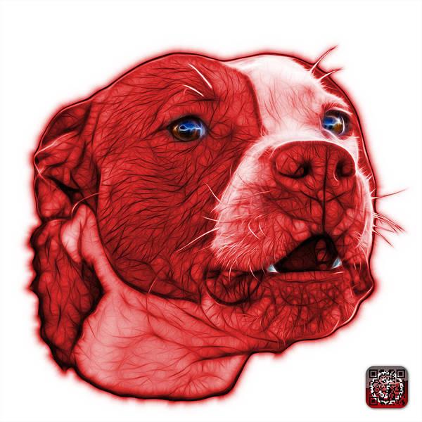 Mixed Media - Red Pitbull Dog Art - 7769 - Wb - Fractal Dog Art by James Ahn