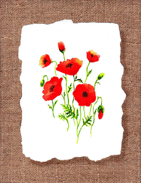 Wall Art - Painting - Red Poppies Decorative Collage by Irina Sztukowski