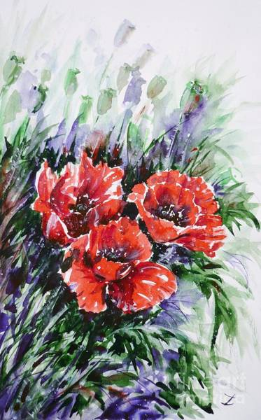 Painting - Red Poppies by Zaira Dzhaubaeva
