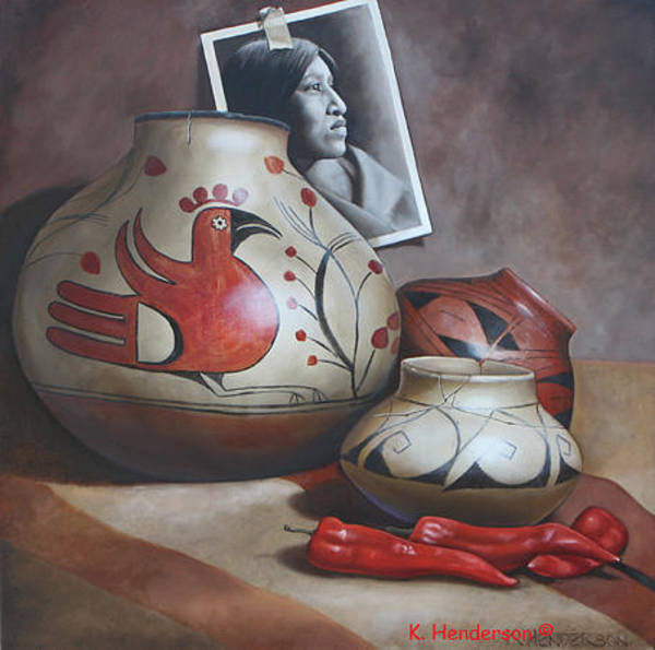 Wall Art - Painting - Red Pot And Peppers Still Life By K. Henderson by K Henderson