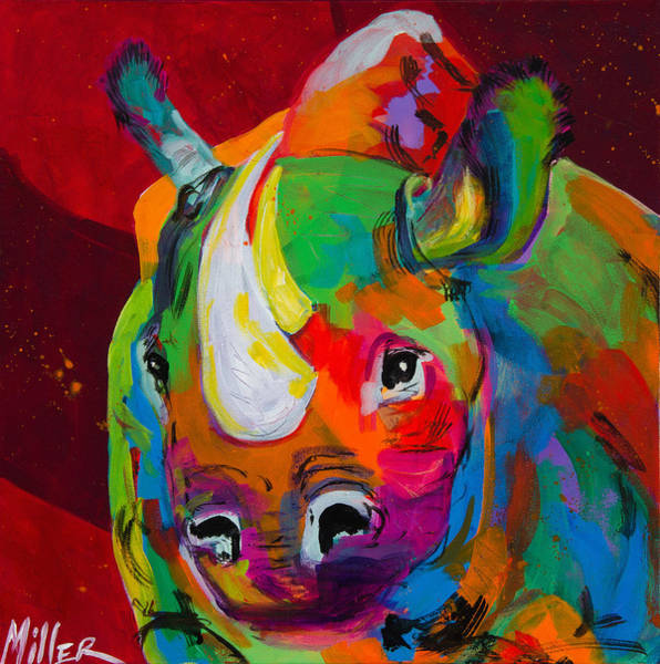 Rhinocerus Painting - Red Rhino by Tracy Miller