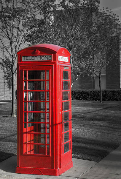 Phone Booth Photograph - Red by Ricky Barnard
